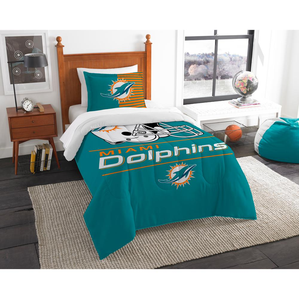 Dolphins 2 Piece Draft Multi Twin Comforter Set