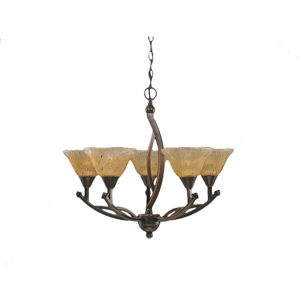 Filament Design Concord 5-Light Black Copper Chandelier with Amber Crystal Glass