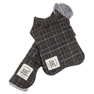 X-Small Grey 2-in-1 Windowpane Plaided Dog Jacket with Matching Reversible Dog Mat