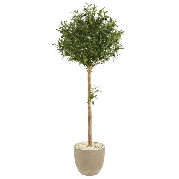 Nearly Natural Indoor 5-Ft. Olive Topiary Artificial Tree in Sand Stone