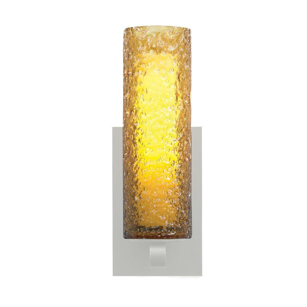 LBL Lighting Mini-Rock Candy 1-Light Satin Nickel Fluorescent Cylinder Wall Sconce with Amber Shade