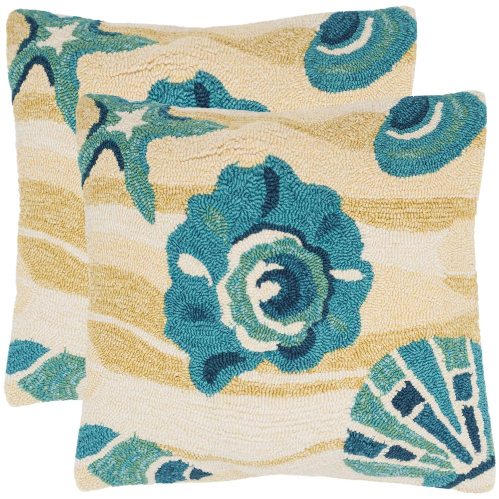 Outdoor Beach Throw Pillows : Safavieh Beyond The Sea Soleil Square Outdoor Throw Pillow (Pack of 2)-PPL106B-2020-SET2 - The ...