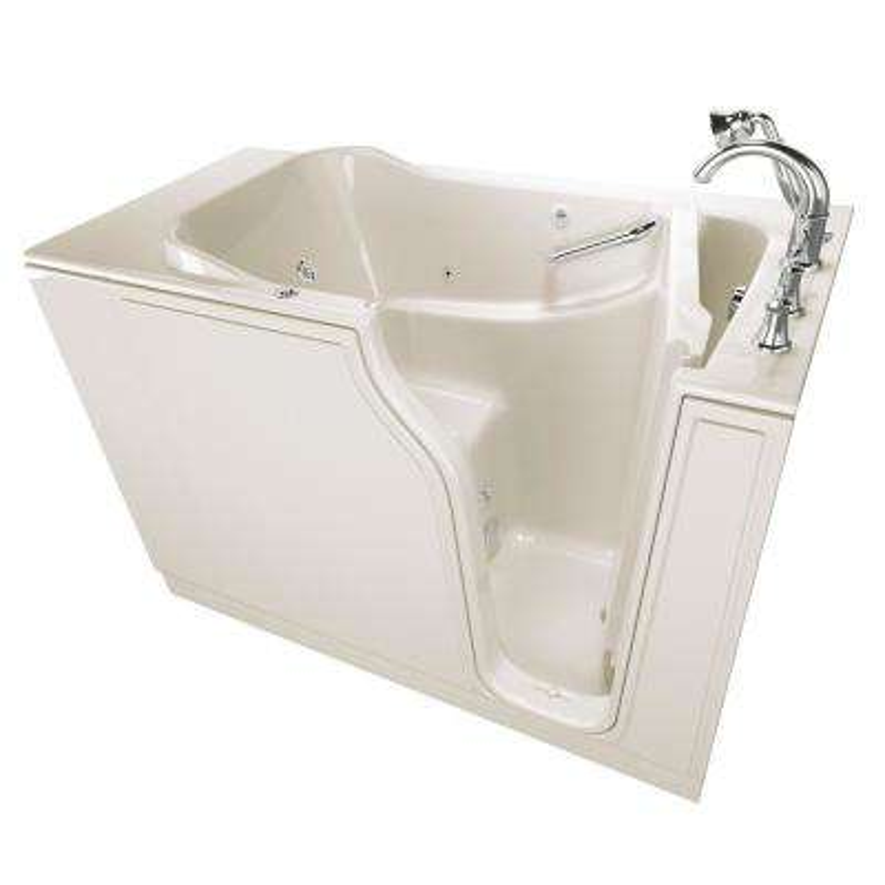 Gelcoat Value Series 52 in. Right Hand Walk-In Whirlpool Bathtub in Linen