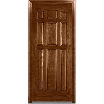 36 in. x 80 in. Severe Weather Left-Hand Outswing 9-Panel Stained Fiberglass Oak Prehung Front Door