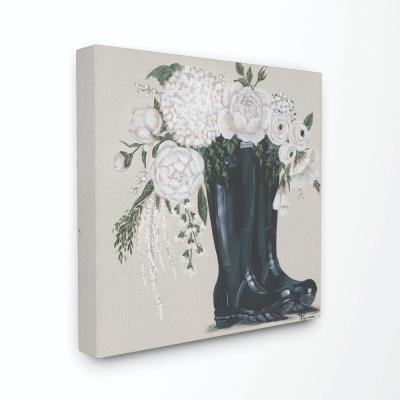 "17 in. x 17 in. ""White Flower Arrangement in Black Boots Painting"" by Penny Lane Publishing Canvas Wall Art"