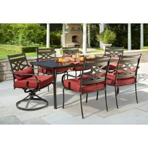 Middletown 7-Piece Patio Dining Set with Chili Cushions