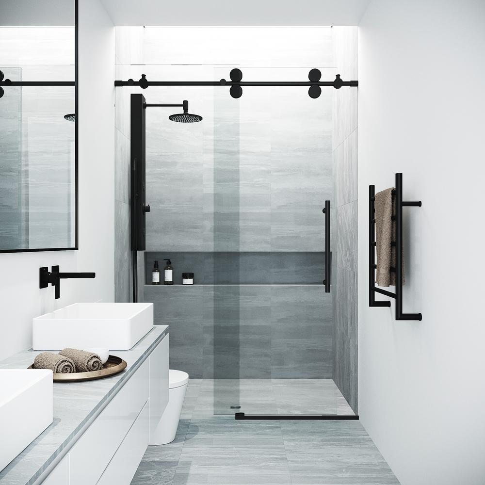 Home Depot Sliding Glass Shower Doors.Vigo Elan 68 To 72 In X 74 In Frameless Sliding Shower Door In Black With Clear Glass And Handle