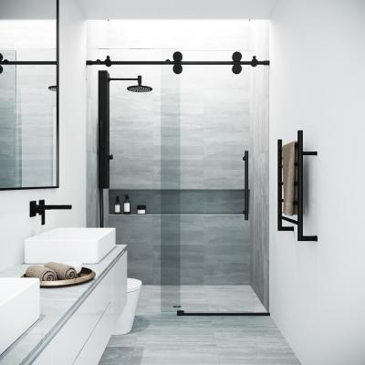 Elan 68 to 72 in. x 74 in. Frameless Sliding Shower Door in Black with Clear Glass and Handle