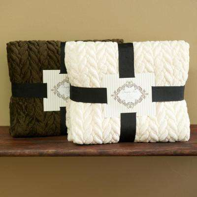 60 in. L Faux Micromink Ivory Cable Quilted Throw