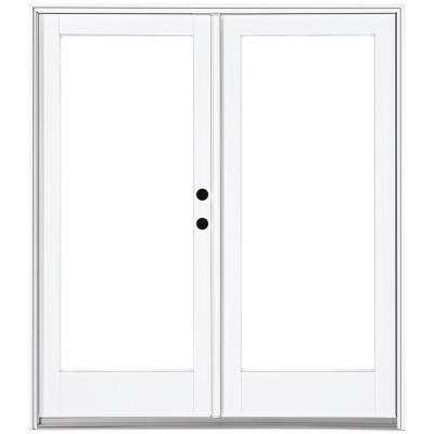 60 in. x 80 in. Fiberglass Smooth White Left-Hand Inswing Hinged Patio Door