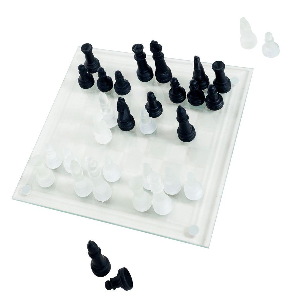 Trademark Games Elegant Glass Chess And Checker Board Set
