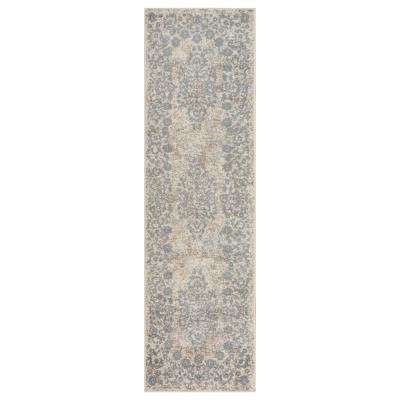 Infinity Gardenia/SL Blue 2 ft. 1 in. x 7 ft. 5 in. Indoor Runner Rug