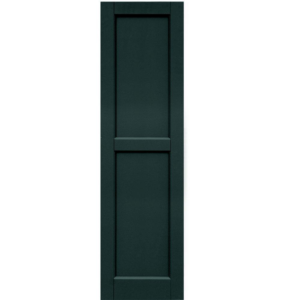 Winworks Wood Composite 15 in. x 54 in. Contemporary Flat Panel Shutters Pair #638 Evergreen