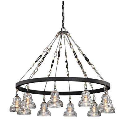 Menlo 10-Light Deep Bronze Park Chandelier with Historic Clear Pressed Glass Shade