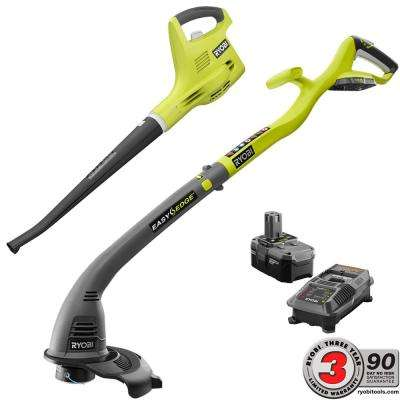 18-Volt Lithium-Ion Cordless String Trimmer/Edger and Blower/Sweeper Combo Kit - 2.6 Ah Battery and Charger Included
