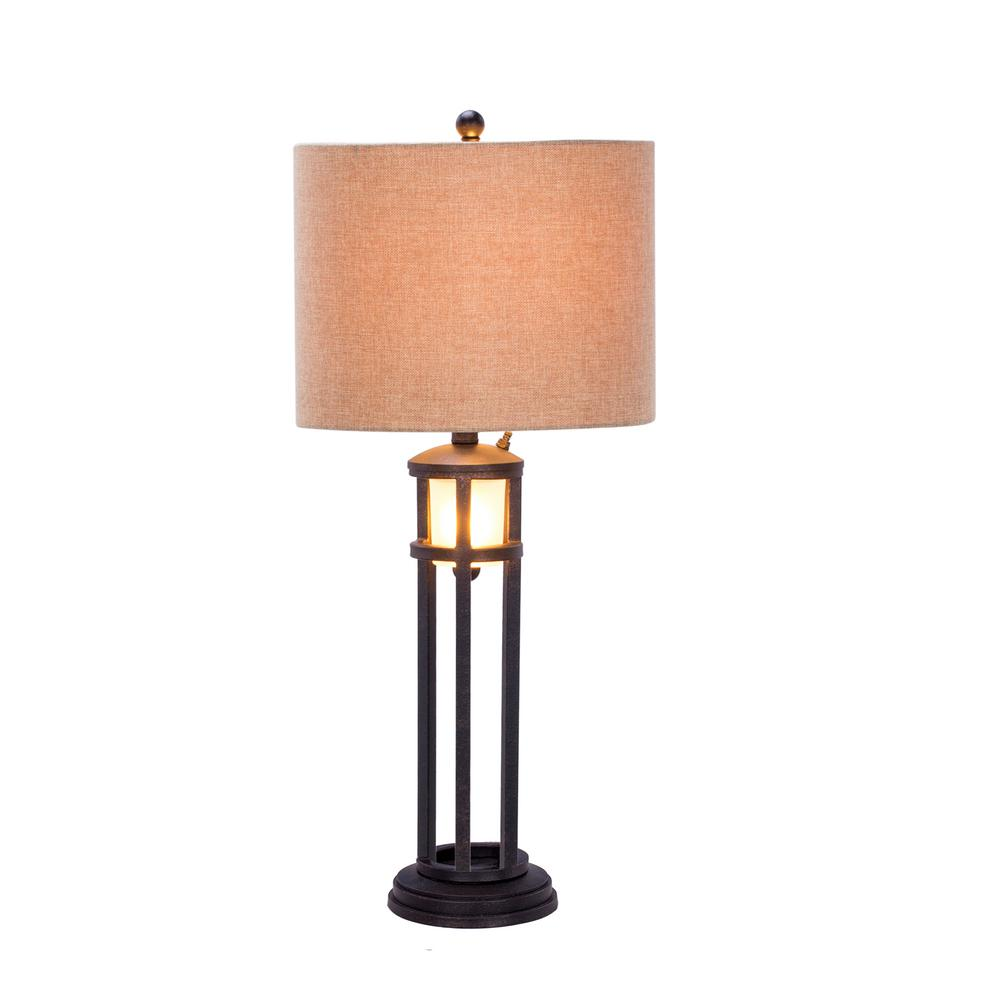 Bon Fangio Lighting 30 In. Black Metal And Frosted Glass Table Lamp With  Nightlight