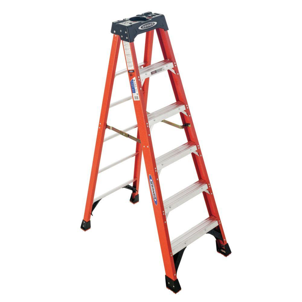 Werner 6 Ft Fiberglass Step Ladder With 300 Lbs Load