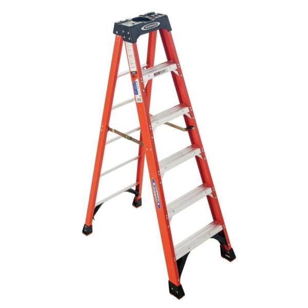 6 ft. Fiberglass Step Ladder with 300 lb. Load Capacity Type IA Duty Rating