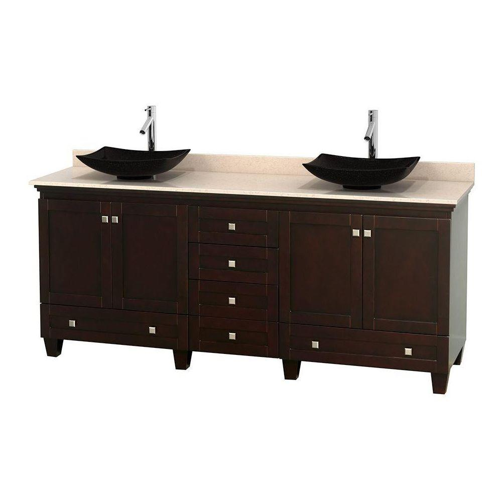 Acclaim 80 in. W Double Vanity in Espresso with Marble Vanity