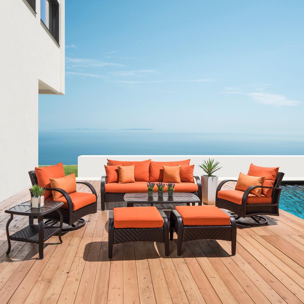 Barcelo 7-Piece Wicker Motion Patio Deep Seating Conversation Set with Sunbrella Tikka Orange Cushions