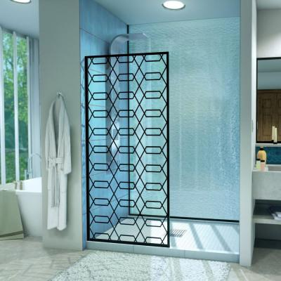Linea Maze 34 in. W x 72 in. H Frameless Fixed Shower Screen in Satin Black without handle