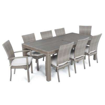 Cannes 9-Piece Patio Woven Dining Set with Moroccan Cream Cushions