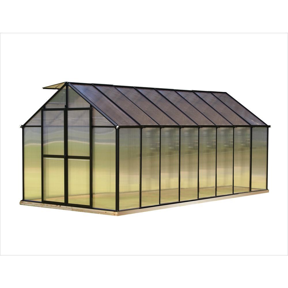 Monticello 8 ft. x 16 ft. Black Greenhouse