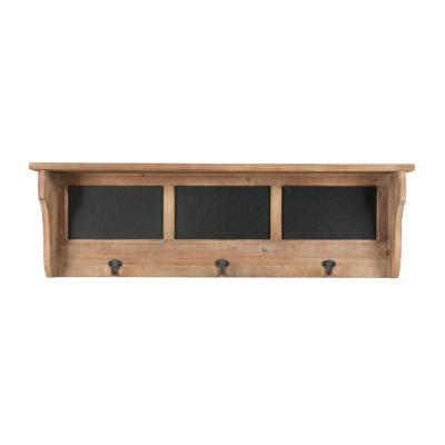 10 in. H x 32 in. W x 5 in. D StyleWell Wood and Black Metal Wall-Mount Storage Shelf with 3 Hooks