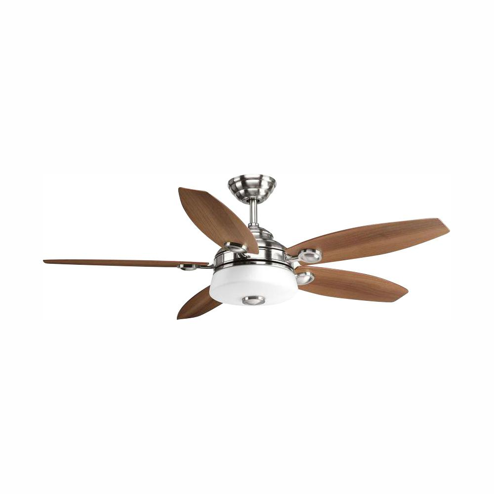Progress Lighting Graceful Collection 54 in. LED Indoor Brushed Nickel Modern Ceiling Fan with Light Kit and Remote