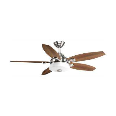Graceful Collection 54 in. LED Indoor Brushed Nickel Modern Ceiling Fan with Light Kit and Remote