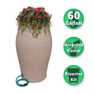 60 Gal. Sandstone Decorative Rain Barrel Kit with Planter and Diverter System