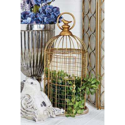 Gold MDF and Iron Bird Cage with a Round Handle