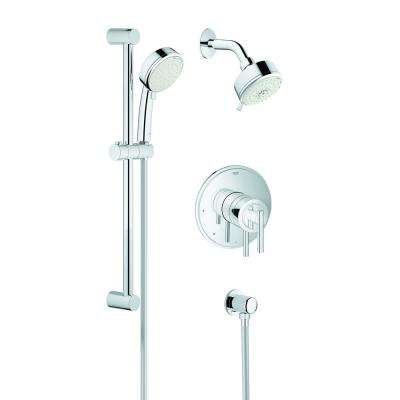 GrohFlex Timeless Lever 1-Handle Wall Mount Trim Kit in Chrome (Valve and Handles Not Included)