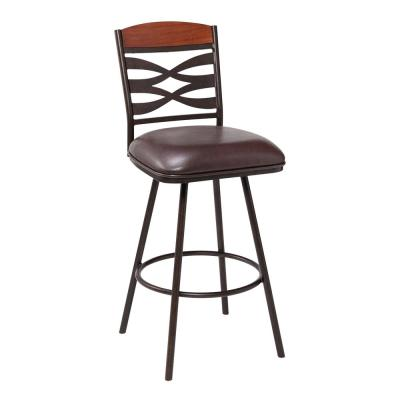 Arden Contemporary 26 in. Auburn Bay with Brown Faux Leather and Sedona Wood Back Counter Height Bar Stool