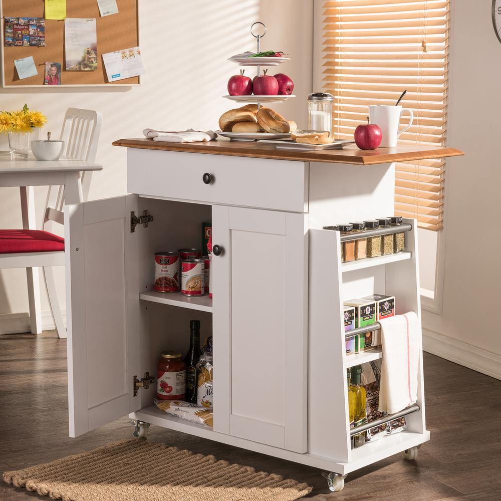 Balmore White Kitchen Cart with Storage