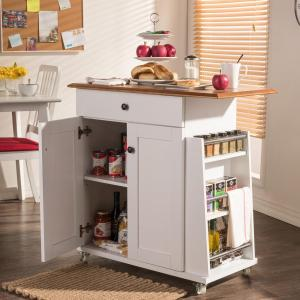 Click here to buy Baxton Studio Balmore White Kitchen Cart with Storage by Baxton Studio.