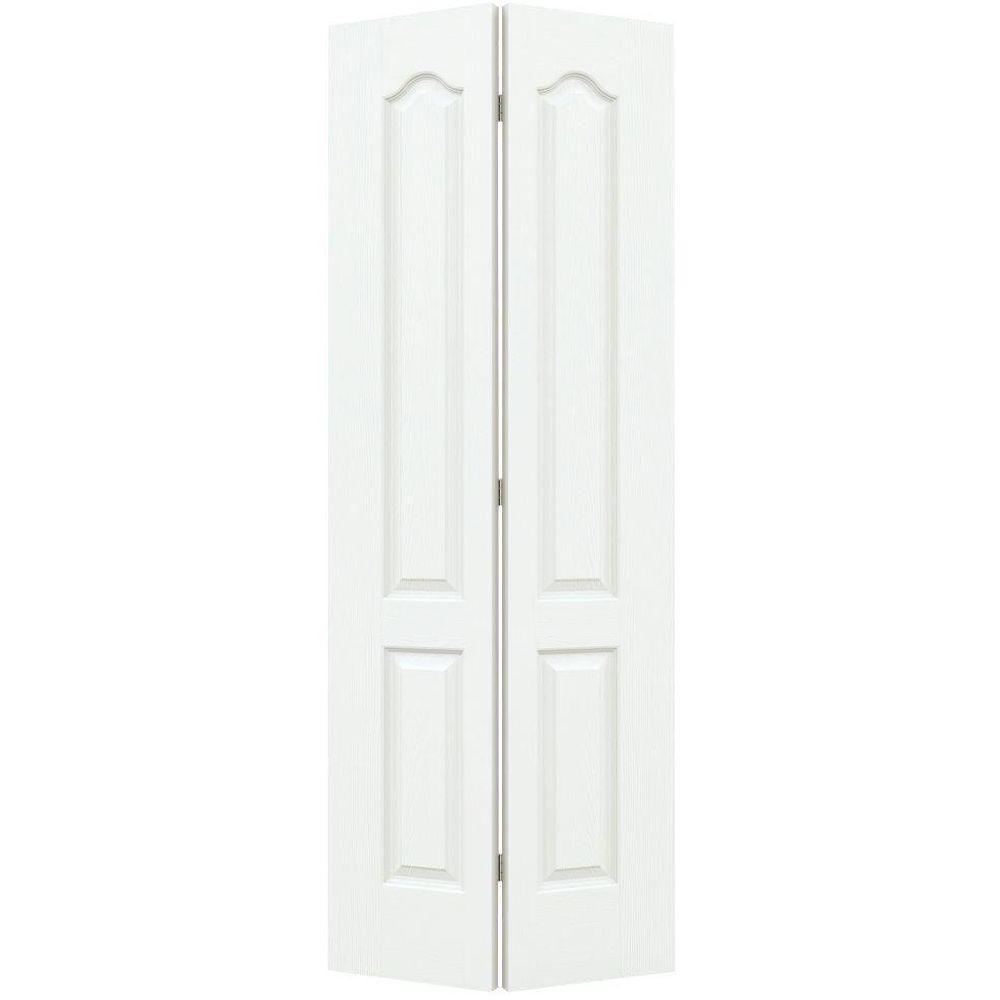 30 in. x 80 in. Camden White Painted Textured Molded Composite
