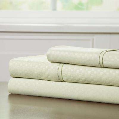 Embossed 3-Piece Sage 90 GSM Microfiber Twin XL Sheet Set