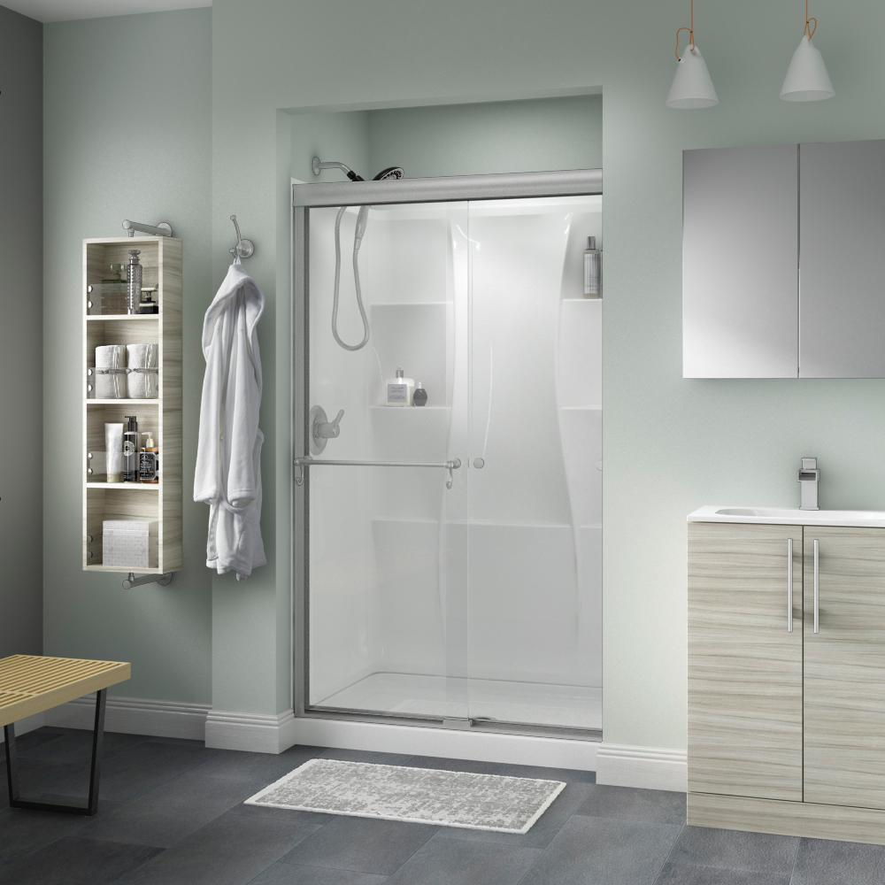 Delta Portman 48 In X 70 In Semi Frameless Traditional Sliding Shower Door In Nickel With Clear Glass Sd2832905 The Home Depot