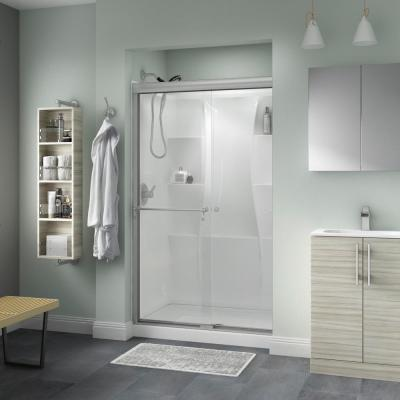 Portman 48 in. x 70 in. Semi-Frameless Traditional Sliding Shower Door in Nickel with Clear Glass