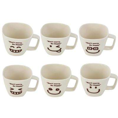 Don't Worry Be Happy 9.5 oz. White Ceramic Tea Cup Face (Set of 6)