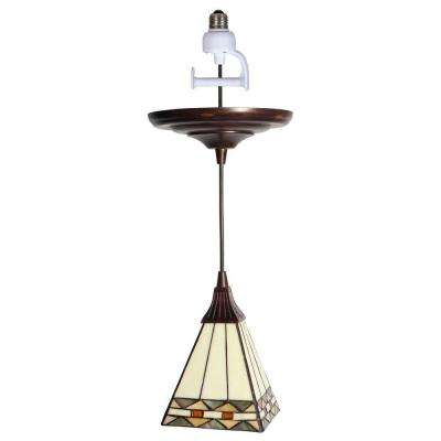 Instant Pendant 1-Light Recessed Light Conversion Kit Antique Bronze Craftsman Style Shade