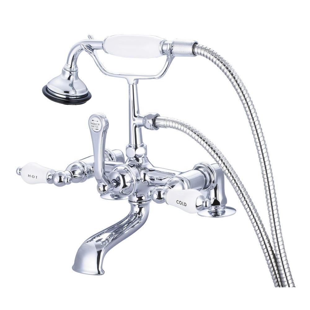 Water Creation 3-Handle Claw Foot Tub Faucet with Labeled Porcelain Lever Handles and Handshower in Triple Plated Chrome