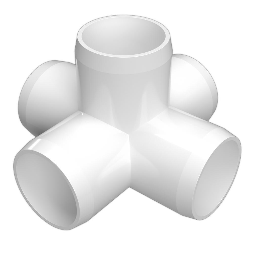 1 in. Furniture Grade PVC 5-Way Cross in White (4-Pack)