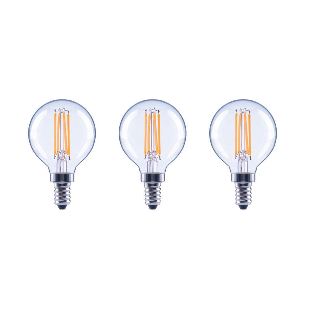 60-Watt Equivalent G16.5 Dimmable ENERGY STAR Clear Glass Filament Vintage Edison LED Light Bulb Bright White (3-Pack)