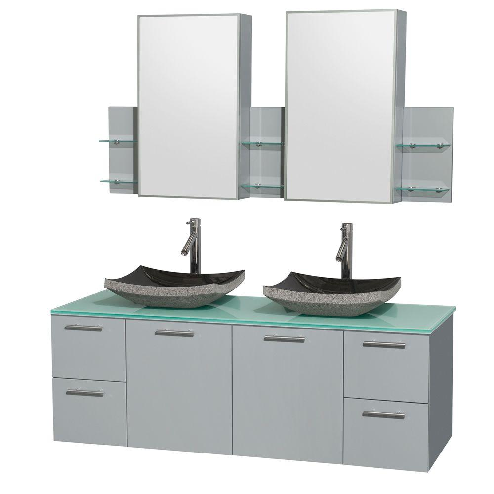 Wyndham Collection Amare 60 in. W x 22.25 in. D Vanity in Dove Gray with Glass Vanity Top in Green with Black Basins and Cabinet Mirrors