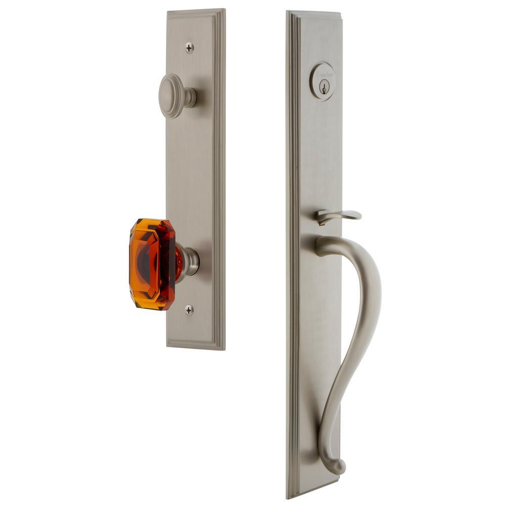 Carre Satin Nickel 1-Piece Dummy Door Handleset with S-Grip and Baguette Amber Knob
