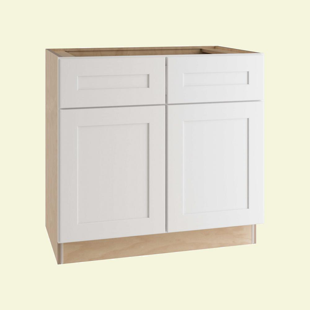 Home Decorators Collection Newport Assembled 36 in. x 34.5 in. x 24 in. Base Kitchen Cabinet with 2 Doors in Pacific White