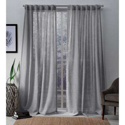 Bella 54 in. W x 84 in. L Sheer Hidden Tab Top Curtain Panel in Silver (2 Panels)