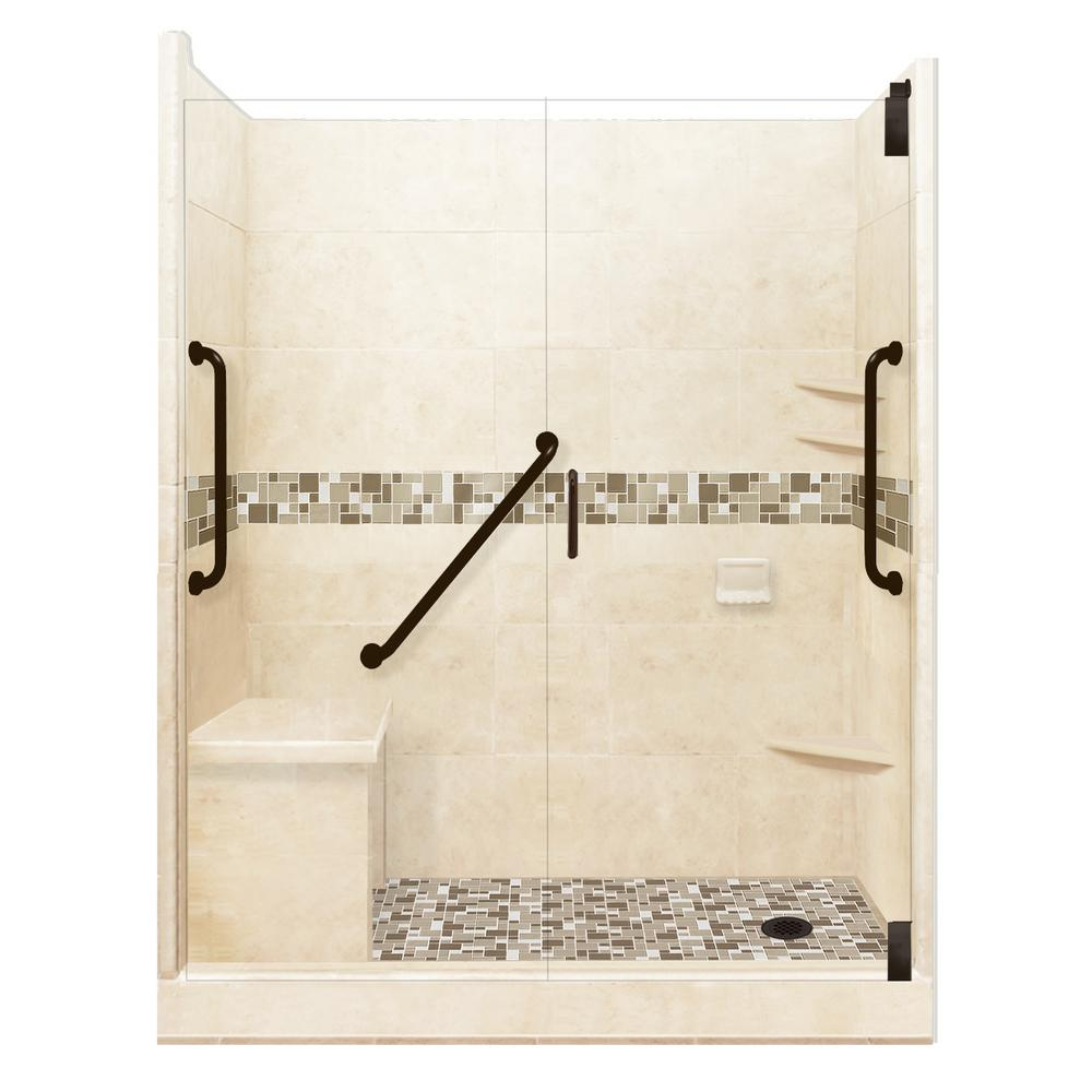 American Bath Factory Tuscany Freedom Grand Hinged 30 in. x 60 in. x 80 in. Right Drain Alcove Shower Kit in Desert Sand and Old Bronze